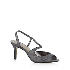 Debut - Dark grey metallic textured mid sandals