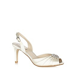 Debut - Ivory satin floral stone stiletto heel court shoes