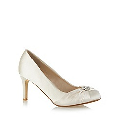 Debut - Ivory jewel flower trim mid satin court shoes