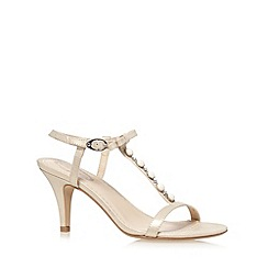 Debut - Light gold embellished T-bar strap high sandals