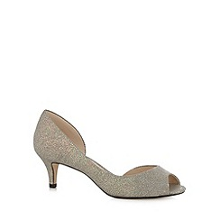 Debut - Pale grey shimmer peep toe court shoes