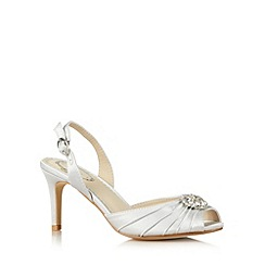 Debut - Silver satin floral stone stiletto heel court shoes