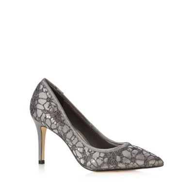Debut Dark grey lace sequin stiletto court shoes