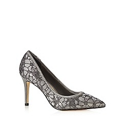 Debut - Dark grey lace sequin stiletto court shoes