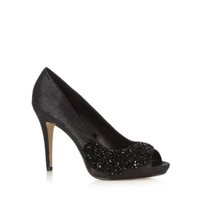 Debut Black beaded stiletto peep toe court shoes - . -