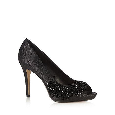 Debut - Black beaded stiletto peep toe court shoes
