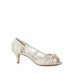 Debut - Ivory sequin mesh mid court shoes
