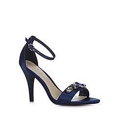 Debut - Navy satin jewel high sandals