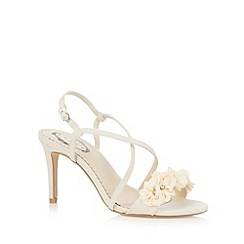 Debut - Dark cream floral trim high sandals