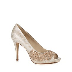 Debut - Light gold beaded stiletto peep toe court shoes