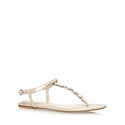 Debut - Light gold embellished T-bar strap sandals
