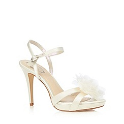 Debut - Ivory satin 3D flower high sandals