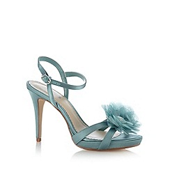 Debut - Turquoise satin 3D flower high sandals