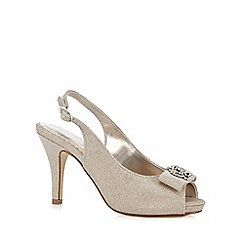 Debut - Light gold stone embellished peep toe high court shoes