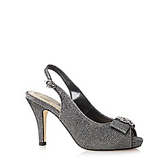 Debut - Silver stone embellished peep toe high court shoes