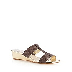 Debut - Bronze metallic strap mid wedge sandals