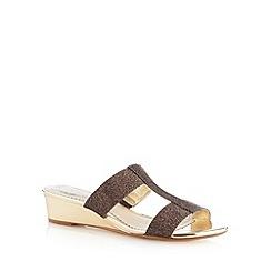 Debut - Bronze metallic strap mid wedge sandals