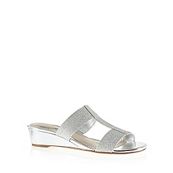Debut - Silver glitter textured mid sandals
