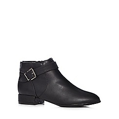 Red Herring - Black mock croc buckle boots