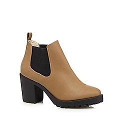 Red Herring - Light tan mid block heeled chelsea boots