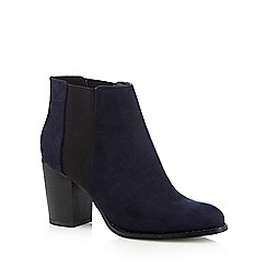 Red Herring - Navy suedette high chelsea boots