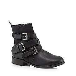 Red Herring - Black triple buckle boots