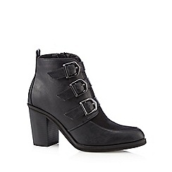 Red Herring - Black triple buckle high boots