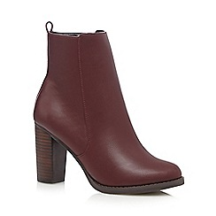 Red Herring - Dark red mid ankle PU boots
