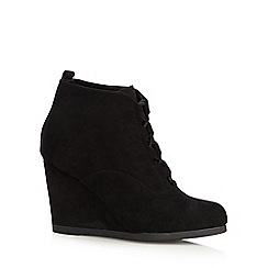 Red Herring - Black laced high wedged ankle boots