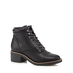 Red Herring - Black lace up mid ankle boots