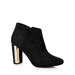 Red Herring - Black suedette metal trim heel ankle boots