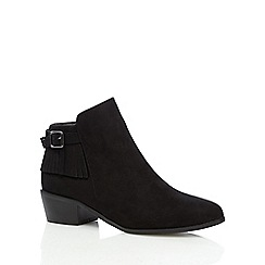 Red Herring - Black fringed mid ankle boots
