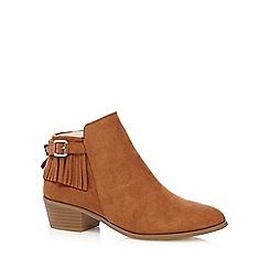 Red Herring - Tan fringed mid ankle boots