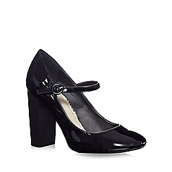 Red Herring - Black patent buckle strap court shoes