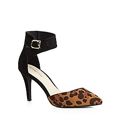 Red Herring - Black suedette leopard court shoes