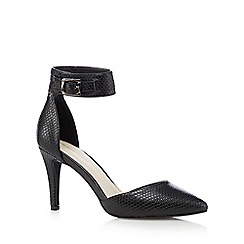 Red Herring - Black snakeskin-effect high heeled court shoes