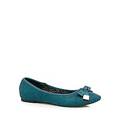 Red Herring - Dark turquoise suedette bow detail pumps