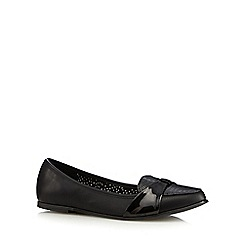 Red Herring - Black PU patent bow strap loafers
