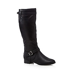 Red Herring - Black faux snakeskin strap high leg boots