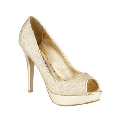 Cashback These gold glitter peep toe shoes from Red Herring ...