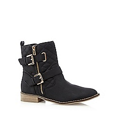 Red Herring - Black quilted buckle boots