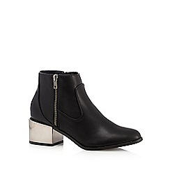 Red Herring - Black metallic block heel mid boots