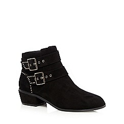 Red Herring - Black studded mid heeled ankle boots