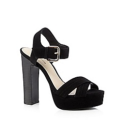 Red Herring - Black suedette high block heeled sandals
