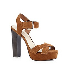Red Herring - Tan suedette high block heeled sandals