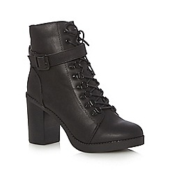 Red Herring - Black lace up high heeled ankle boots