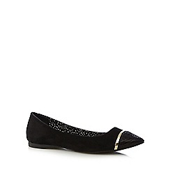 Red Herring - Black suedette snakeskin pointed slip on shoes