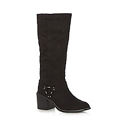 Red Herring - Black suedette mid heeled calf length boots
