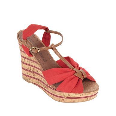 Sandale mit Keilabsatz und Canvas-Besatz, rot