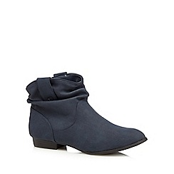 Mantaray - Navy ruched cuff ankle boots